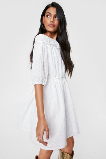 White Brodierie Tie Back Mini Smock Dress