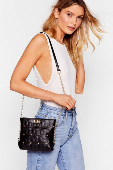 Black WANT Stud to You Quilted Crossbody Bag