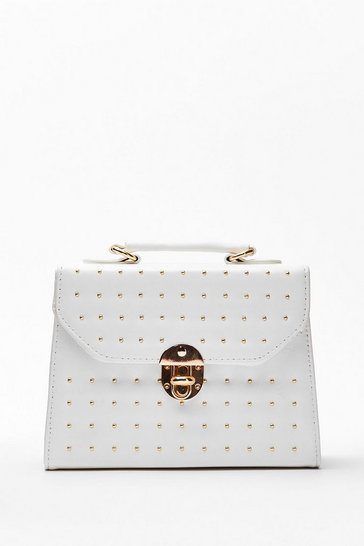 White WANT Pin Pin Situation Studded Crossbody Bag