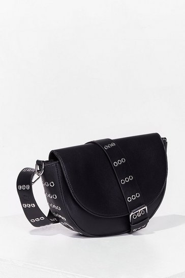 Black WANT Stud I Stay Faux Leather Crossbody Bag