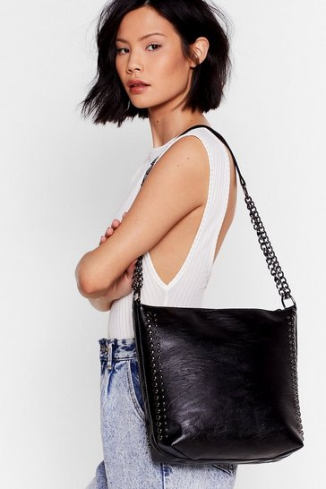 Black WANT Stud to See You Faux Leather Tote Bag