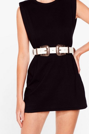 White A Little Extra Double Buckle Western Belt