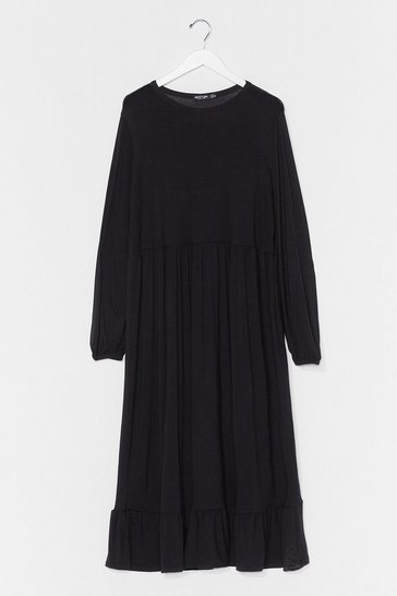 Black Plus Size Long Sleeve Midi Smock Dress