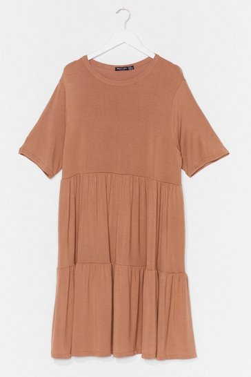 Camel Get Relaxed Plus Mini Dress