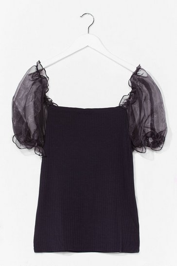 Black Catch a Preview Plus Organza Sleeve Top