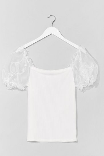 Ivory Catch a Preview Plus Organza Sleeve Top