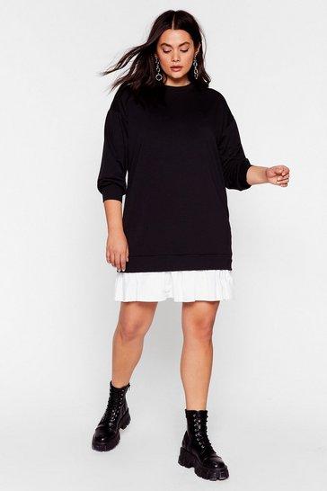 Black Knock Hem Dead Plus Mini Dress