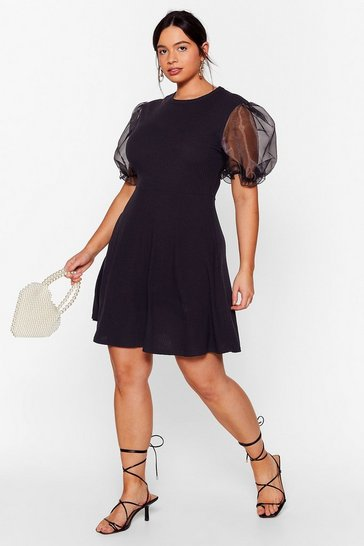 Black Away From Sheer Plus Mini Dress