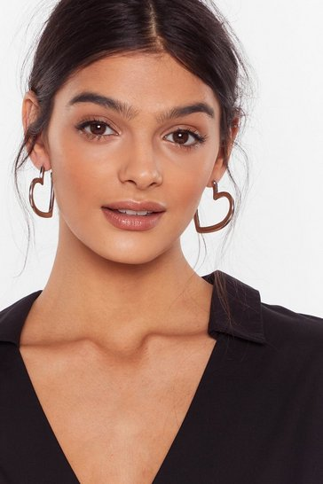 Silver Let Your Heart Decide Hoop Earrings