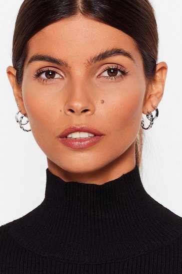 Silver Listen Up 3-Pc Hoop Earring Set