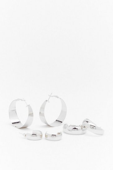 Silver Heard You Calling 3-Pc Hoop Earring Set