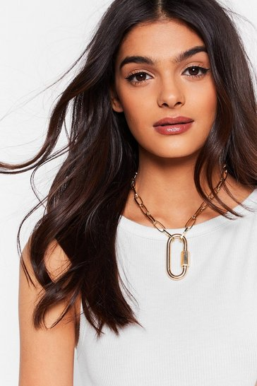 Gold Hold That Thought Carabiner Chain Necklace