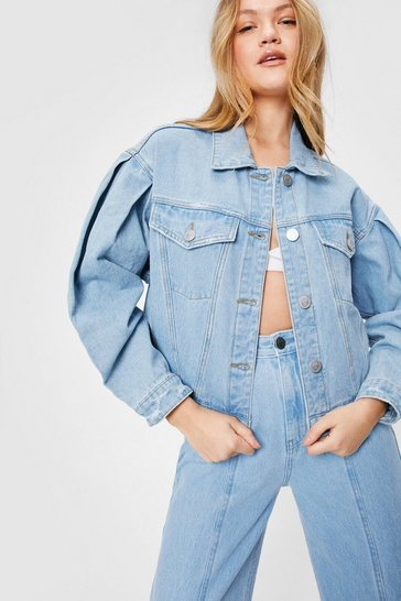 Light blue Mid Wash Balloon Sleeved Cropped Denim Jacket