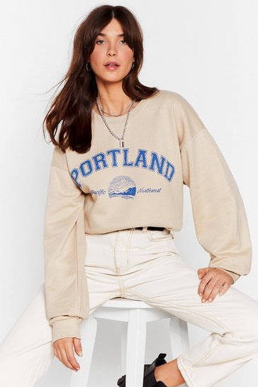 Sand Portland Ovesized Graphic Sweatshirt