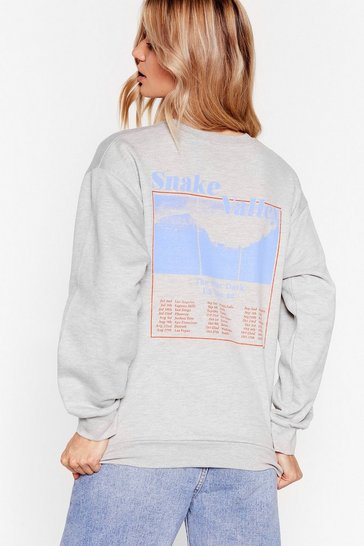 Grey Welcome to Snake Valley Graphic Sweatshirt