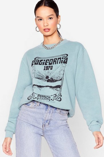 Sage California Dreamin' Oversized Graphic Sweatshirt