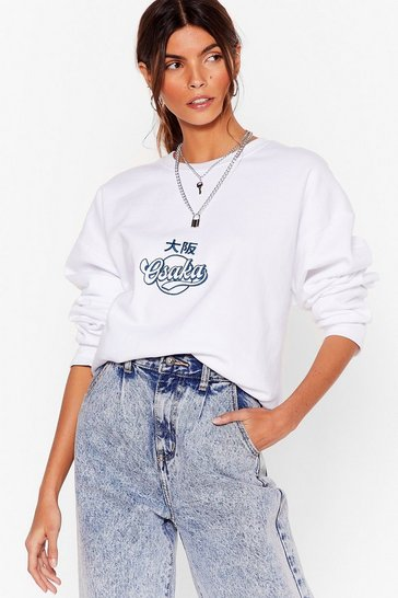 White Osaka Relaxed Graphic Sweatshirt