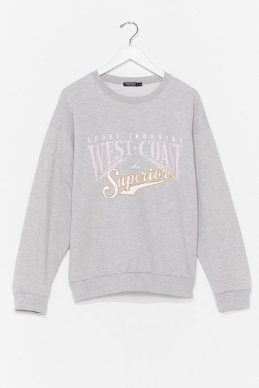 Grey Meet Us On the West Coast Graphic Sweatshirt