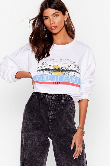 White Take It Easy Oversized Graphic Sweatshirt