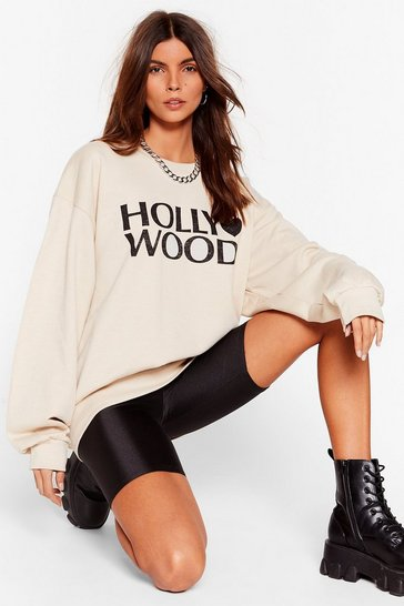 Sand Made in Hollywood Oversized Graphic Sweatshirt