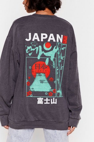 Grey A Lil Wanderlust Japan Graphic Sweatshirt