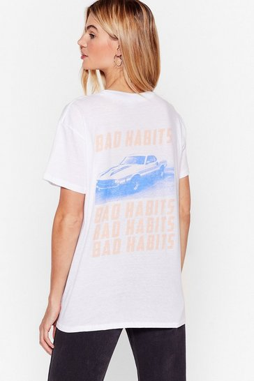 White Bad Habits Relaxed Graphic Tee