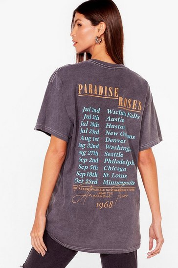 Grey Paradise Roses Graphic Band T-Shirt