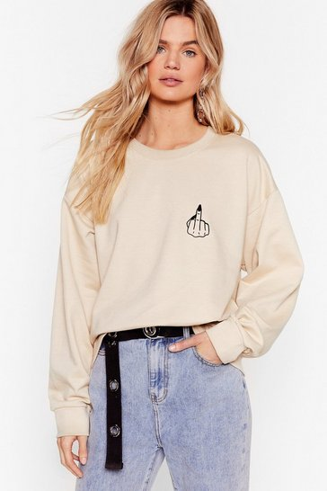 Sand Give 'Em the Finger Graphic Sweatshirt