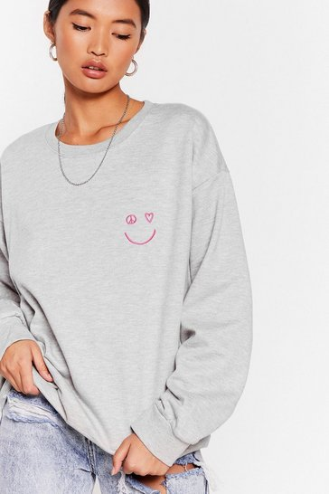 Grey Smile Like You Mean It Graphic Sweatshirt