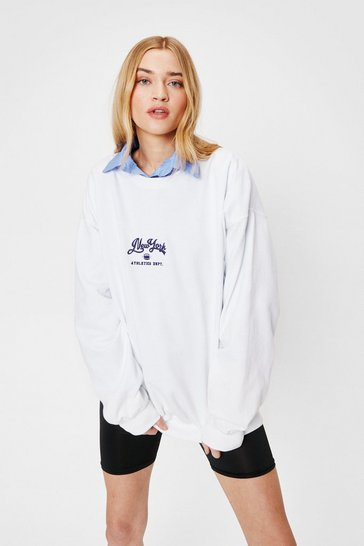 White New York Oversized Graphic Sweatshirt