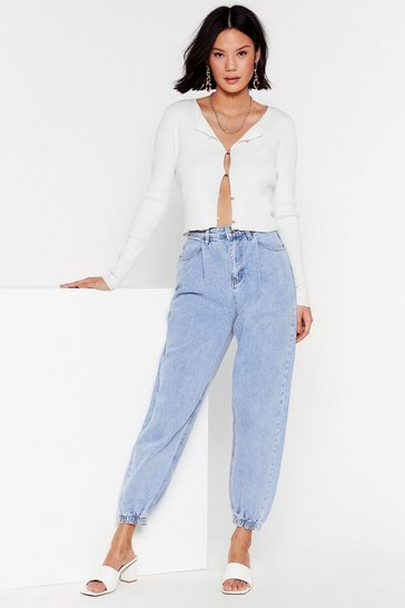 Blue Calling Your Cuff High-Waisted Mom Jeans