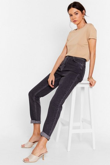 Grey Are You Up to It High-Waisted Mom Jeans