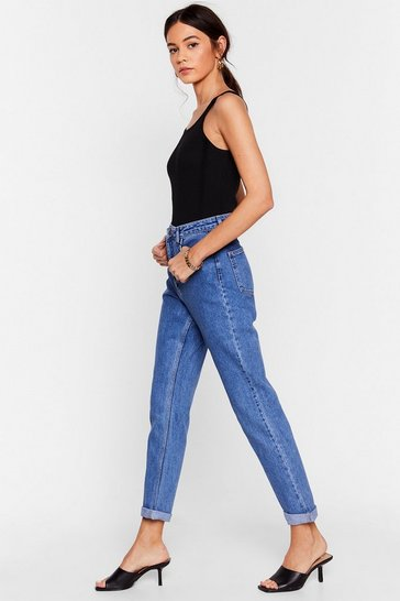 Mid blue Are You Up To It High-Waisted Mom Jeans