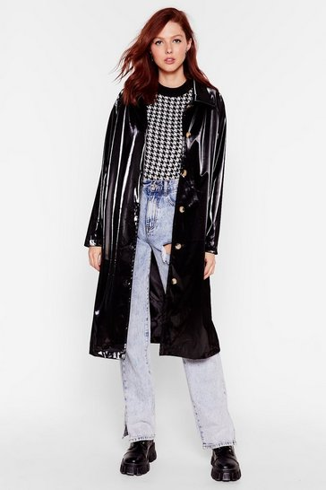 Black Sheen You Around Collared Vinyl Coat