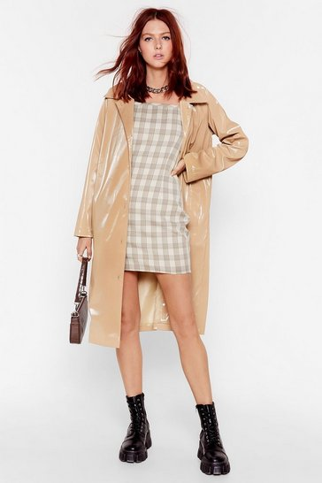 Camel Sheen You Around Collared Vinyl Coat