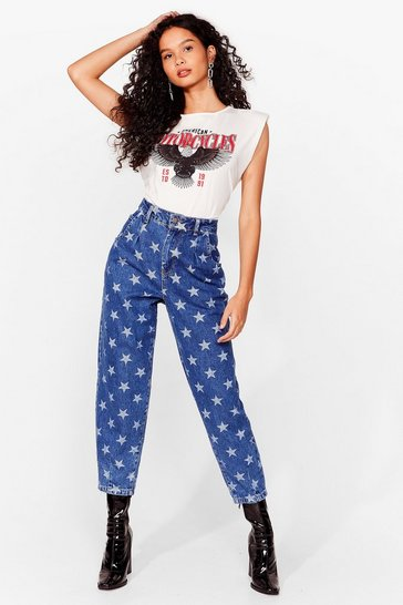 Dark blue Star Print High Waisted Tapered Jeans