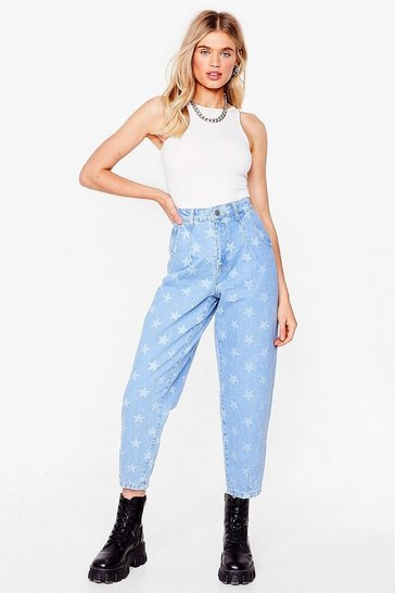 Light blue Star Print High Waisted Tapered Jeans