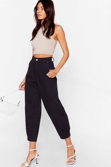 Black Jean Genie High-Waisted Tapered Jeans