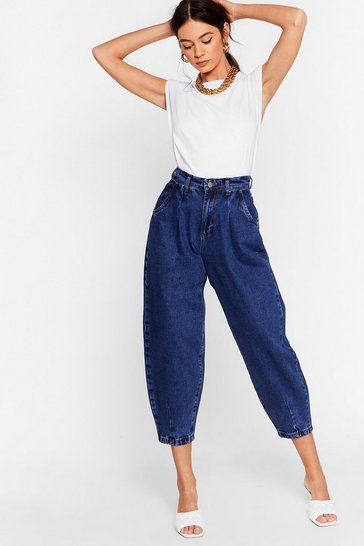 Washed blue Jean Genie High-Waisted Tapered Jeans
