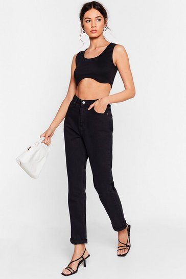 Black Are You Up to It High-Waisted Mom Jeans