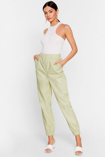 Pistachio Faux Leather Been Better Jogger Pants