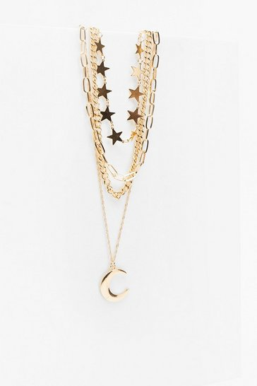 Gold Ticket to the Moon Star Layered Necklace