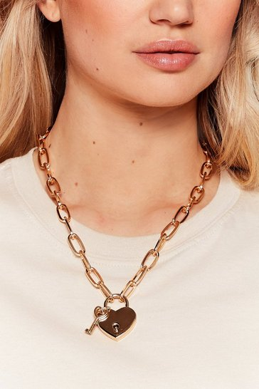 Gold Keep Your Heart Locked Away Chain Necklace