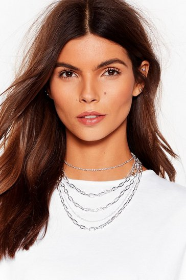 Silver More is More Layered Chain Necklace