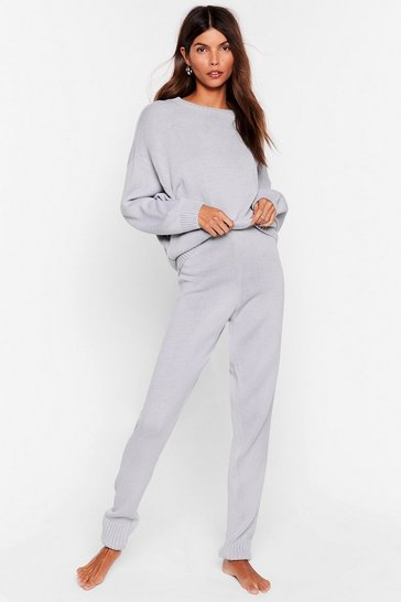 Grey Knitted Jumper and Joggers Set