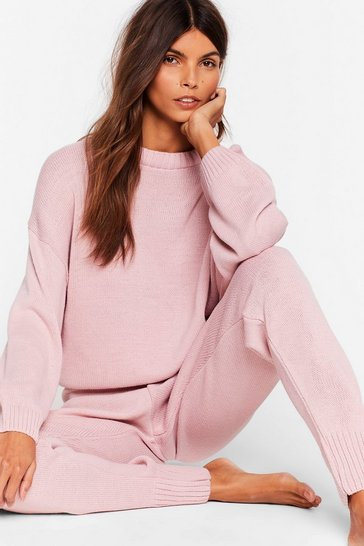 Nude Knitted Jumper and Joggers Set