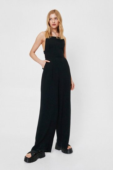 Black Crossover Open Back Wide Leg Jumpsuit