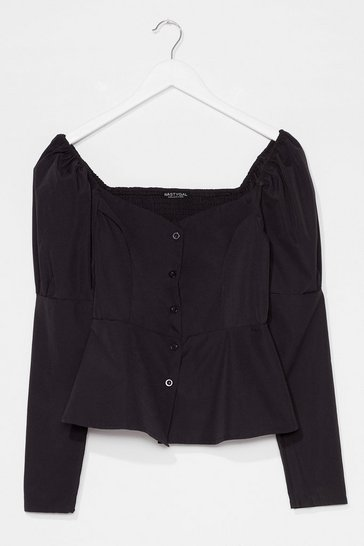 Black Keep 'Em Sweetheart Puff Sleeve Button-Down Blouse