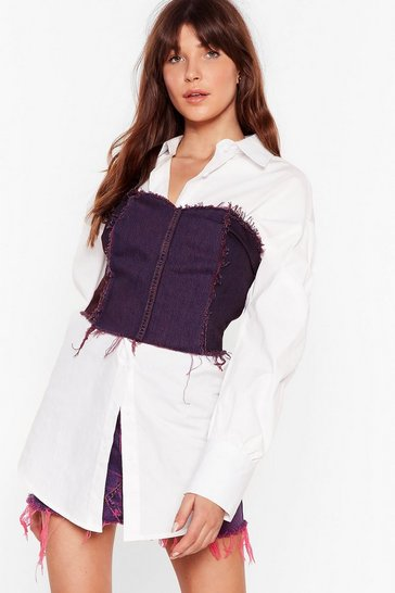 Purple Nasty Gal Vintage It's Do or Dye Denim Corset Top