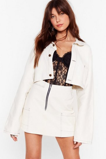 Ecru Nasty Gal Vintage What's the Stitch Cropped Jacket